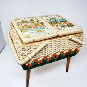 Vtg 80s Wicker Sewing Box Neddlepoint Flowers Lid
